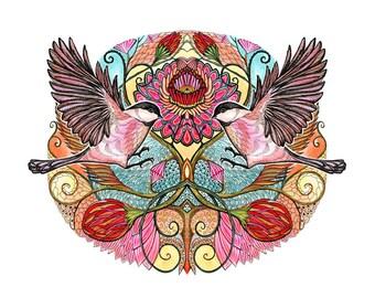 Chickadee Love, couple of chickadees, bird art print by OlaLiola, size 7x5 (No. 25s)
