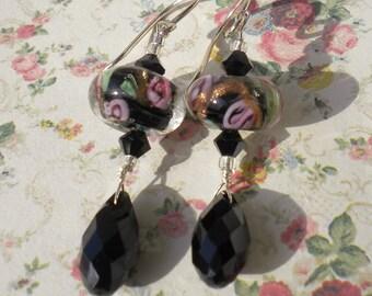 Black Lampwork w Pink Roses Beaded Earrings w Swarovski Jet Teardrops
