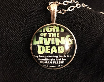 Night of the Living Dead inspired necklace - Horror Movie Jewelry Accessory, zombies, george romero, poster, film