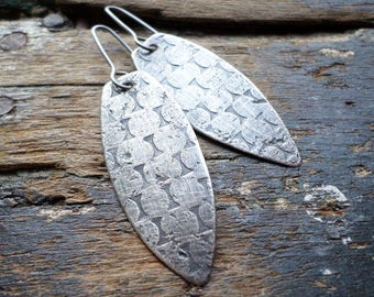 Sterling Silver Earrings, Shield Shape Ethnic Tribal Modern Contemporary Urban Textural Geometric Charcoal Gray Metalsmith Dangle Earrings