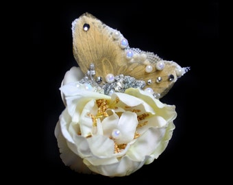 Crystal Wedding Hair Accessories, Butterfly Fascinator, Ivory Flower Hair Clip, Couture Hair Flowers Accessories