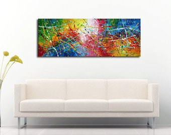 Original PAINTING modern art ARTWORK abstract from ARTIST skyline city cityscape