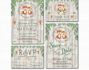 Woodland Fox Wedding Invitation Set. Rustic Forest Watercolor Leaves Invite. Romantic Fox Couple. Save the Date. RSVP. Thank You Card. FOX-G