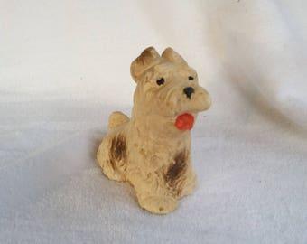Vintage Chalkware Scruffy Cairn Terrier Dog, Westie Scottie