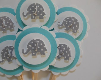 Elephant Cupcake Toppers - Aqua and White with Gray Polka Dot Elephants - Baby Shower Decorations - Birthday Party Decorations - Set of 6