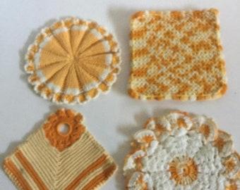 ON SALE 4 Vintage Crochet Pot Holders Yellow, Gold, White Top Hanger, Retro Kitchen, Vintage Gift, Hand Crochet, Kitchen Pot Holders, Farmho