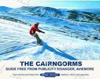 Vintage Style Railway Poster Aviemore Cairngorms A3/A2 Print