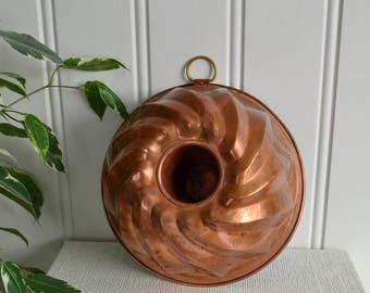 Copper baking mold, vintage Swedish kitchen decoration , 50s home decor