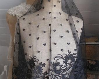 Antique black lace veil, Victorian mourning