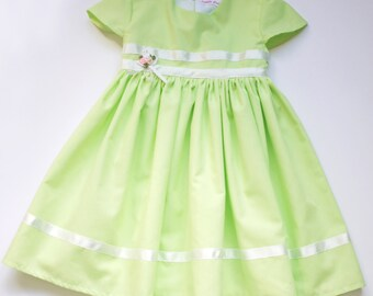 Fern - Pale Apple Green Cotton Baby's Dress. ONLY Enough Fabric Left for size 0-3mths