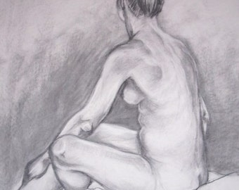 A4 Giclee limited edition prints of Seated Nude  - Contemporary Life Drawing by Jules Crowther
