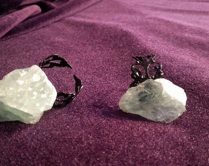 Fluorite Ring - fluoriet fluorite ring big chunk occult gothic rock gemstone edelsteen