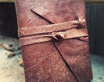 LEATHER JOURNAL Brown Envelope Style Personalized Rustic Leather Journal Sketchbook Notebook Travel Gift Journal in Cowboy