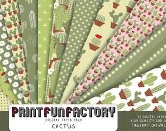 Cactus digital paper - Cacti paper Cactuses background nature plant - 12 digital papers (#097) INSTANT DOWNLOAD