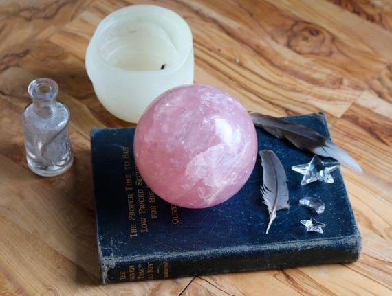 Huge Dark Pink Star Rose Quartz Sphere 88mm, Rose Quartz Orb, Polished Rose Quartz, Pink Crystal Ball, Star Rose Quartz, Rose Quartz Ball
