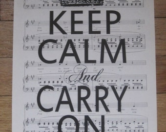 NEW keep calm and carry on vintage sheet music
