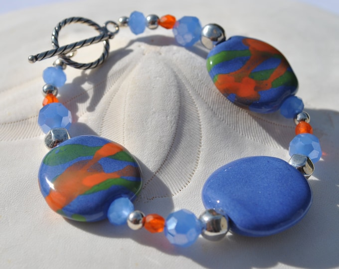 Bold Periwinkle African Kazuri Ceramic bracelet set, with orange and periwinkle crystals and faceted sterling silver beads