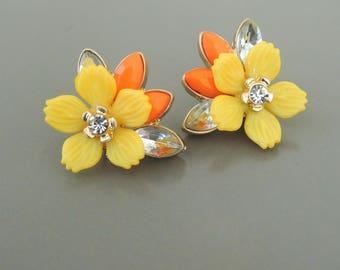 Vintage Inspired Earrings - Yellow Earrings - Flower Earrings  - Gold Earrings - Colorful Earrings - Chloe's Vintage Jewelry
