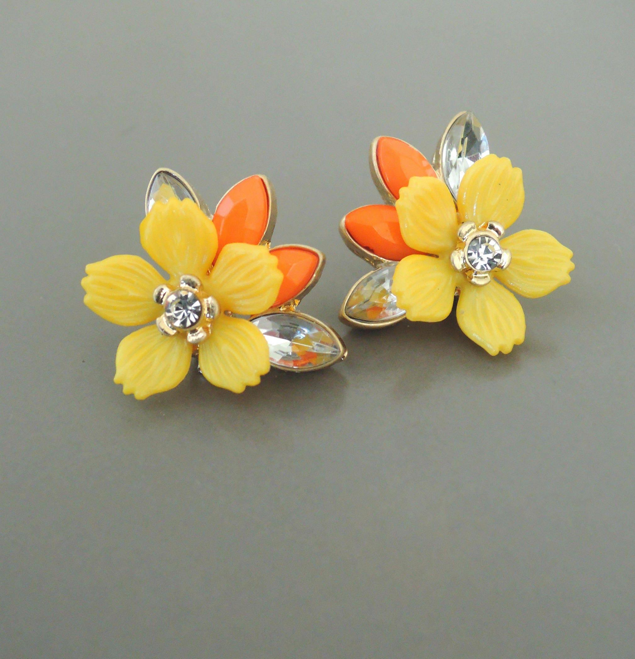 Vintage Inspired Earrings Yellow Earrings Flower Earrings