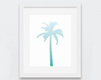 Palm Tree Print, Palm Tree Wall Art, Beachy Art Print, Sky Blue Turquoise Ombre Art, Beach Theme Nursery, Summer Digital Art Print, Ocean