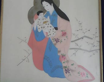 Very rare signed by the master.japanese silk screen print