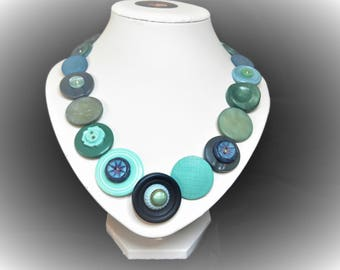 Button necklace - Ocean blues, Gift for her, boho necklace, statement necklace, unique gift, buttons, handmade jewelry, Mothers Day, OOAK