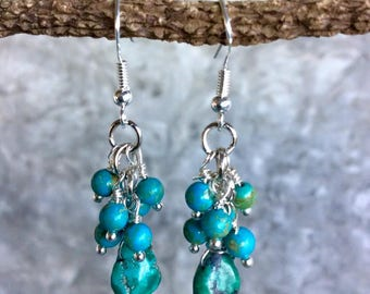 Turquoise Earring, Drop Earring, Turquoise Jewelry, December Birthstone, Cluster Earring, Master Healer Jewelry, Gift For Her.