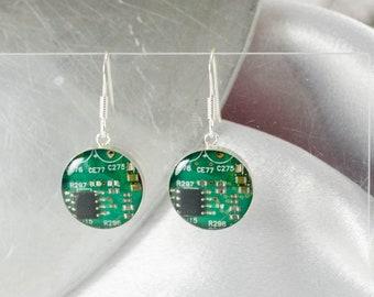 Circuit Board Earrings, Green Sterling Silver Jewelry, Green Dangle Earrings, Industrial Chic, Women in Computing, Wearable Technology