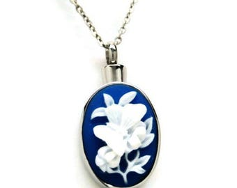 Blue Cameo Look Butterfly Cremation Urn Necklace || Ashes Keepsake || Memorial Necklace || Engraveable