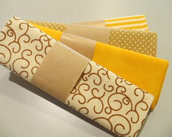 four coupons 50 x 50 cm, yellow and beige 100% cotton fabric