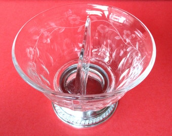 Heisey Divided Etched Glass Bowl With Sterling Silver Bottom
