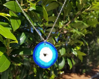 Handmade blue polymer clay agate geode slice necklace
