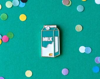 Milk carton enamel pin