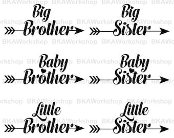 Big brother, Sister svg - Baby brother, sister svg - Little brother, sister digital clipart for Design or more, files download svg, png, dxf