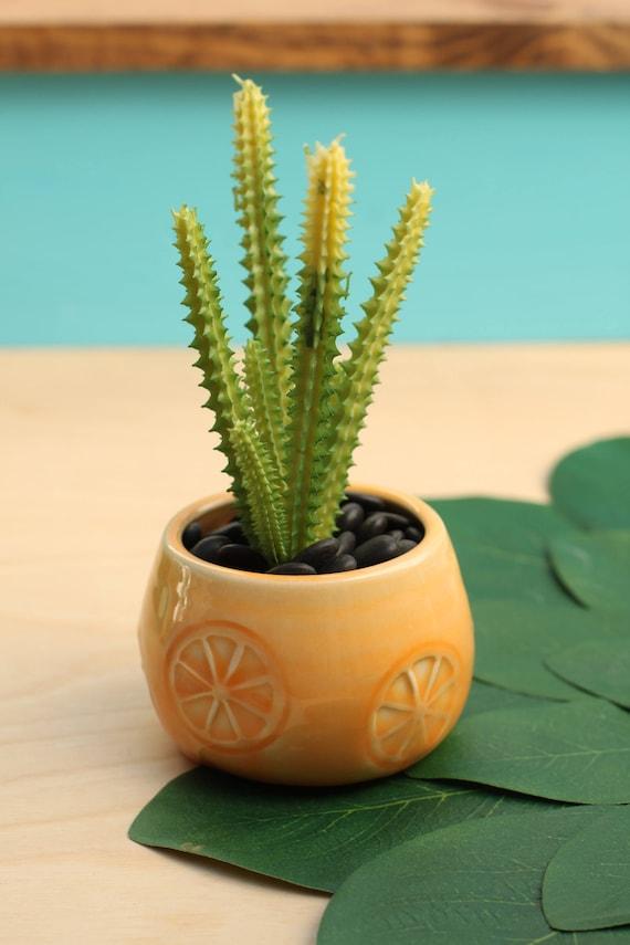 orange succulent planter // cactus planter // succulent pot // small ceramic pot // succulent gift