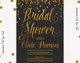 Bridal Shower Invitation, Gold and Black Invitation, Gold Glitter Invitation, Bridal Shower Invitation, Printable Bridal Shower Invitation