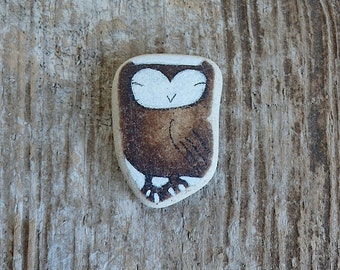 Brown Beach Pottery Owl - Bold and Happy