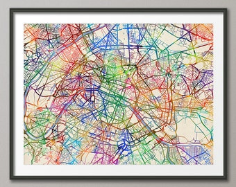 Paris Map, Paris France City Street Map, Art Print (2072)