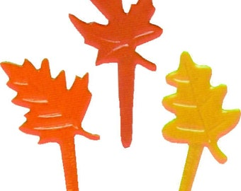 12 Fall Leaves leaf Cupcake / Cake Topper picks party supplies Thanksgiving crafts decorations
