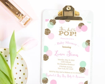 She's About to Pop Invitation/She's Ready to Pop Invitation/Mint Gold Pink Baby Shower Invitation/Baby Shower Invite/Girl Baby Shower/Invite