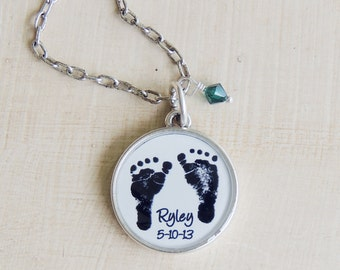 Personalized Baby Footprint Necklace, Mothers Necklace, Baby's Actual Footprint, Gift For Mom, Infant Loss, Loss Of A Baby Gift, Wife Gift