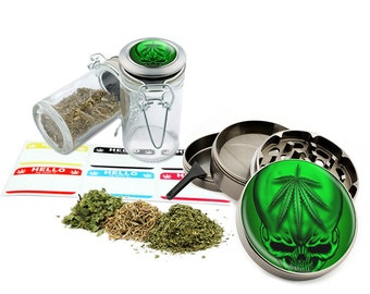 "Green Leaf Skull - 2.5"" Zinc Alloy Grinder & 75ml Locking Top Glass Jar Combo Gift Set Item # G022015-020"