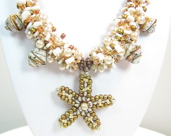 Beaded Starfish Necklace Set   Pearls Shells Lampwork
