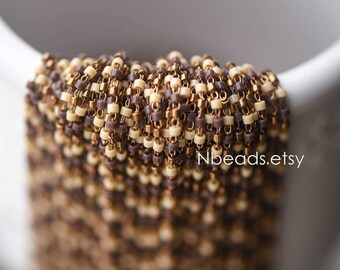 TOHO Seed Glass Bead Chain 1.8mm, Unplated Brass Beaded Tiny Chain, Multi Colors Mix  (#LK-052-5)/ 1 Meter=3.3ft