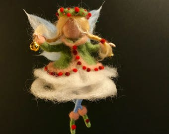 Needle felted Angel, Waldorf inspired,  Wool Fairy, Christmas ornament, children room, Art doll, Felted fairy, nursery, wool doll