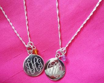 Sterling Silver Monogram Birthstone Necklace