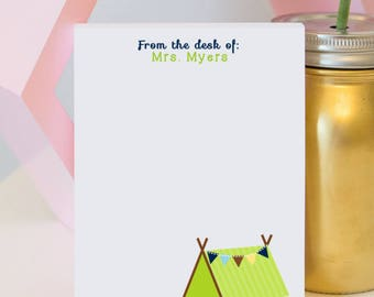 Personalized Teacher Notepad - Tent Notepad - camping classroom - woodland classroom - teacher notepad
