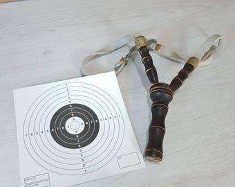 Vintage slingshot, Slingshot, Old slingshot, Wood weapon, Wooden toy, Toy for boys, Wooden slingshot, Gift for boys, Primitive kids toy