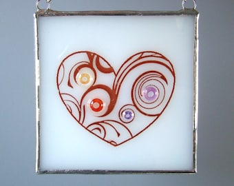 Heart Fused Glass Suncatcher Light Catcher Big Swirl