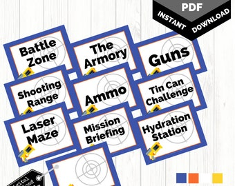 Printable Dart Gun Party Signs | Nerf Battle Signs | Blank Dart Sign | Birthday Signage | INSTANT Download 8.5x11 PDF